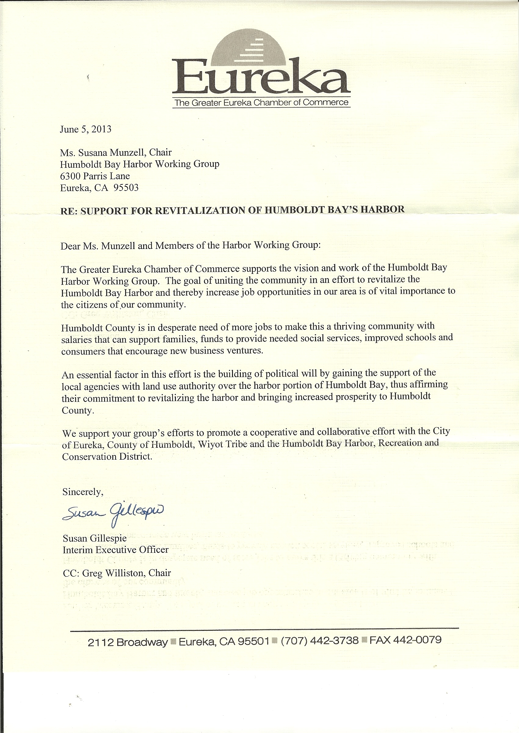 Humboldt Bay Harbor Working Group - Support